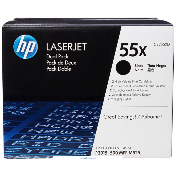 HP 55X pack 2 negro original