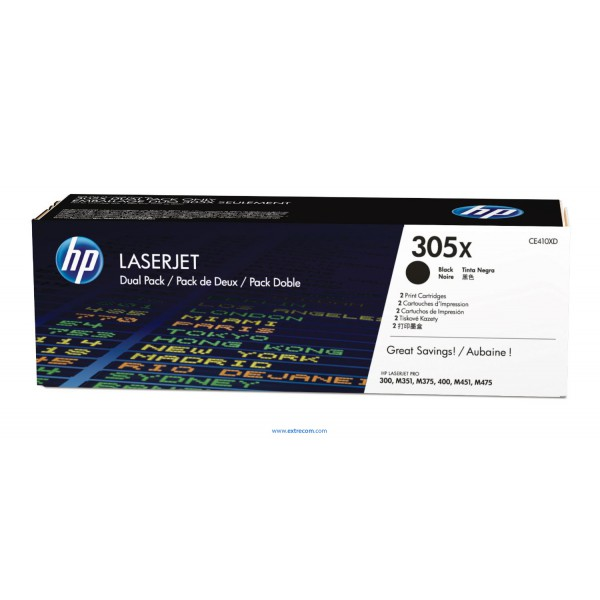 HP 305X pack 2 negro original