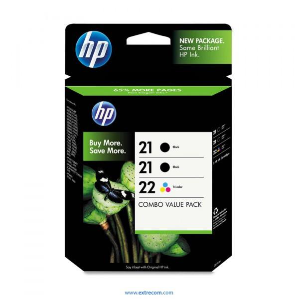 HP 21/22 pack 3 unidades original