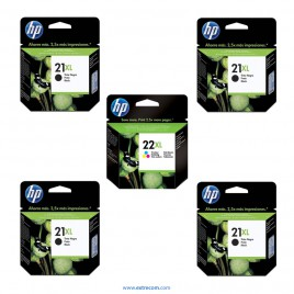 HP 21/22 XL pack 5 unidades original