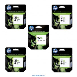 HP 21/22 XL pack 5 unidades original
