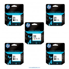 HP 21/22 pack 5 unidades original