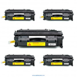 HP 05X pack 5 unidades negro compatible